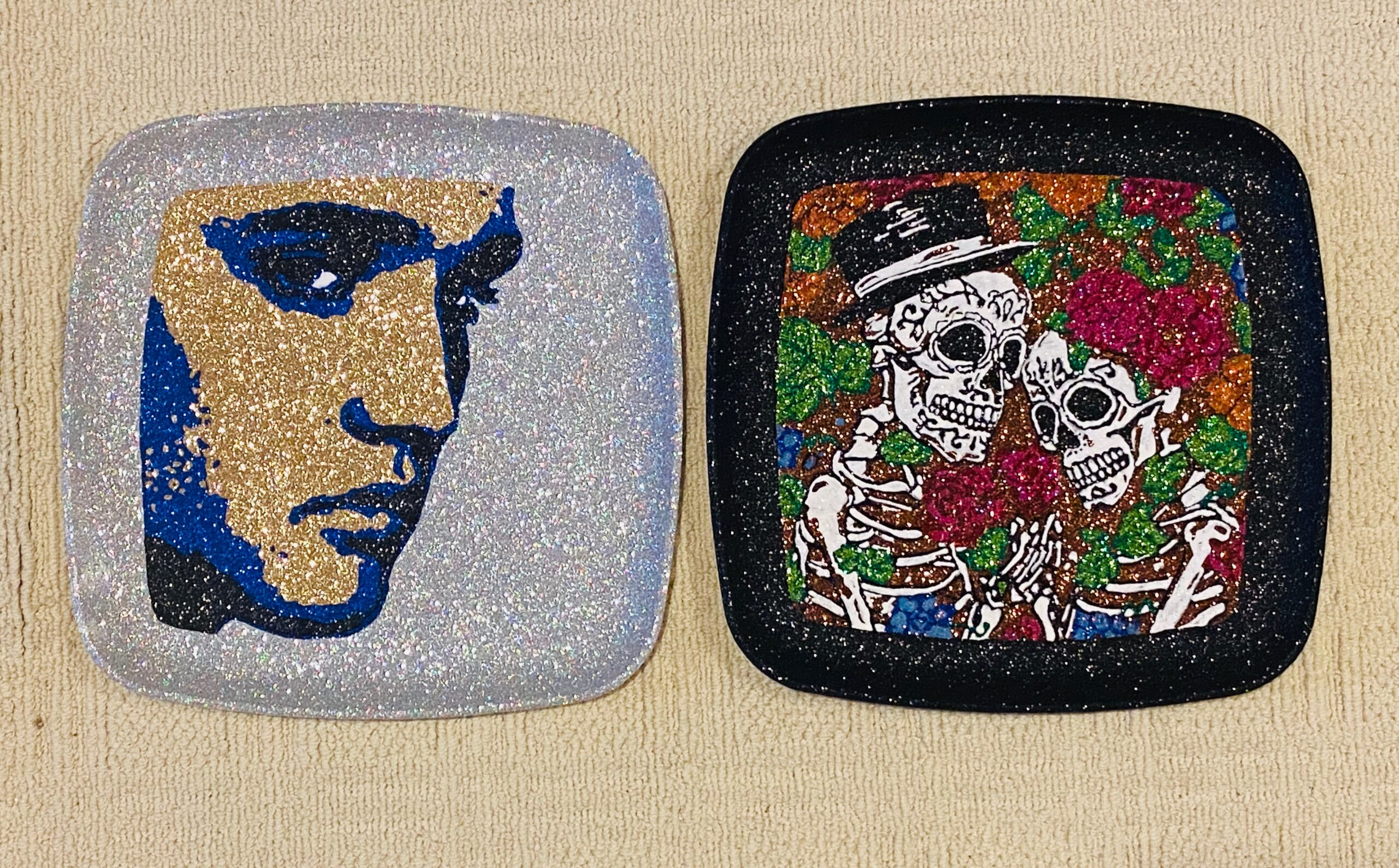 decorated plates - elvis and pirate skeleton