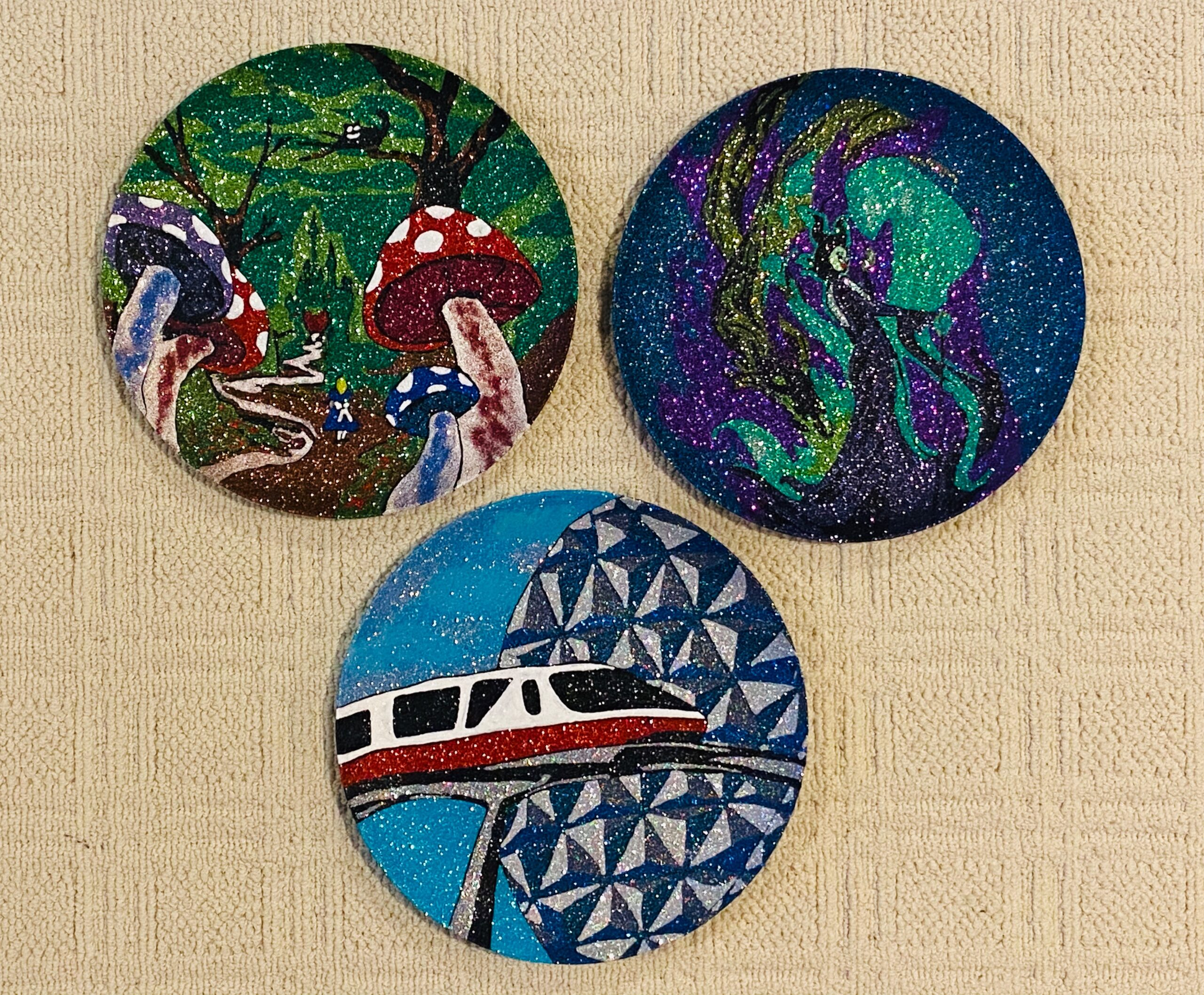 decorated plates - mushroom forrest scene, Disney monorail in front of Epcot